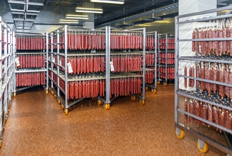 air chilled Refrigerated warehouse for storing meat and sausage products