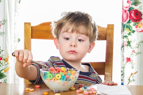 Child with too much sugar in cereal